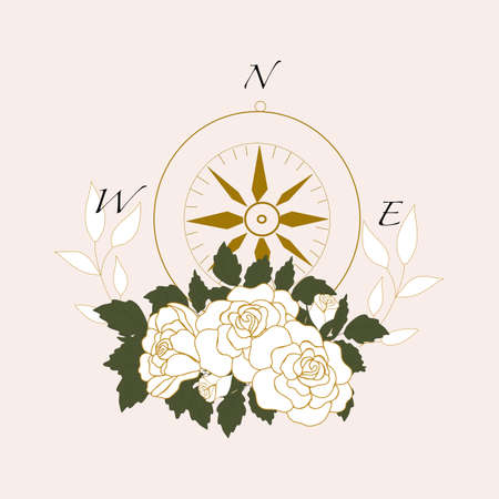 vector illustration withcompass and white elegant roses