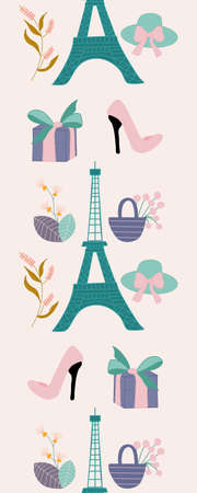 Vertical seamless boarder with tour eiffel and flowers