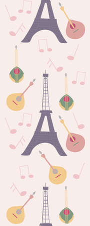 Vertical seamless boarder with tour eiffel and music