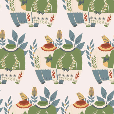 yellow and green christmas swaters with decorations and flowers in a seamless pattern design