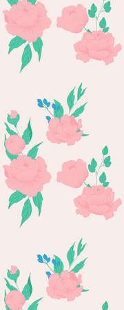 Vertical seamless border with pink peonies
