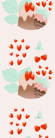Vertical seamless with chocolate cakes, leaves and hearts Ilustração