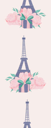 Vertical seamless border with tour eiffel, peonies and gifts
