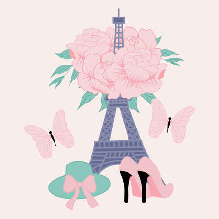 vector illustration with tour eiffel and peonies