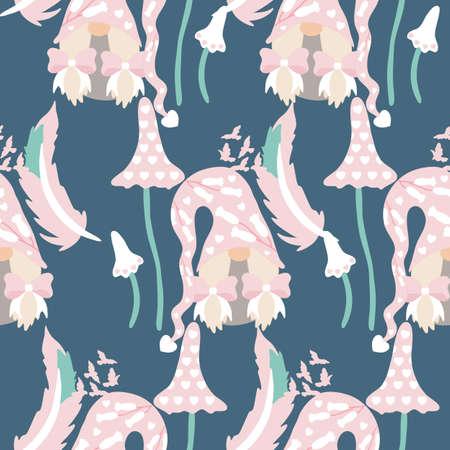 girl gnome and mushrooms in a valentines day seamless pattern Standard-Bild - 138289223