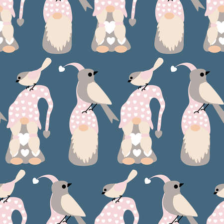 gnomes and birds in a seamless pattern design Standard-Bild - 138289224