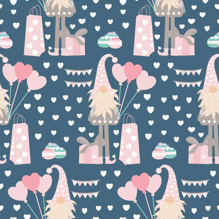 tall gonme with heart baloons and gifts in a valentines seamless pattern