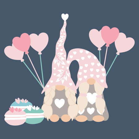 vector illustration with a pair of valentine gnomes and heart balloons