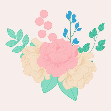 vector illustration with peonies and blue flower Ilustracja