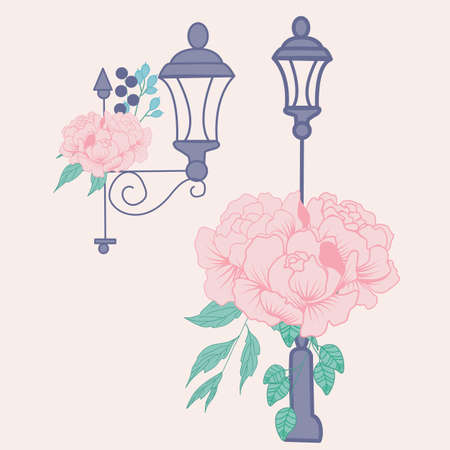 vector illustration with street lamps and peonies Ilustracja