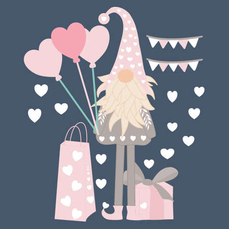 vector illustration with valentine gnomes and gifts