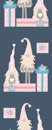 Vertical seamless boarder with cute valentines gnomes and gifts