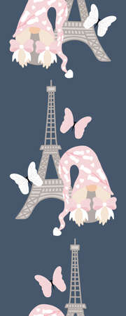 Vertical seamless border with cute valentine gnome and tour eiffel