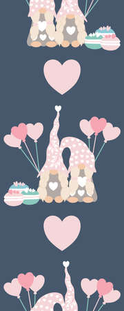 Vertical seamless border with cute valentine gnomes and heart balloons Ilustrace