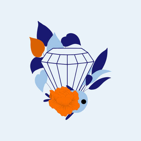 vector illustration with blue diamond, cute fish and colorful leaves
