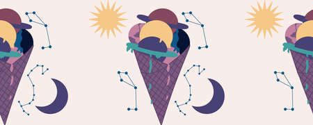 horizontal border with purple ice cream and planets and galaxy Illustration