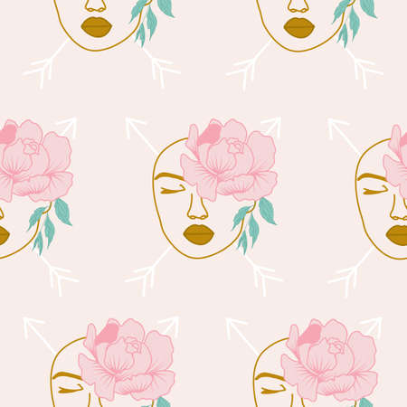 seamless pattern design with beautiful woman face and pink peonies
