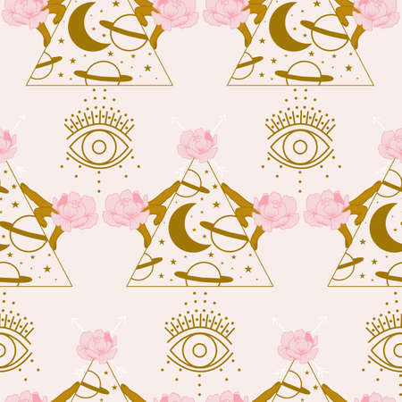 seamless pattern design with golden hands, flowers, diamonds and evil eye