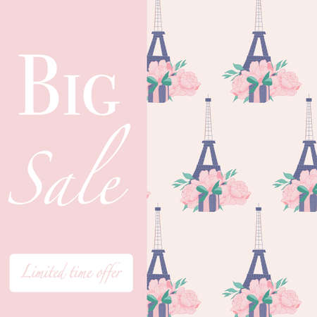 ad banner with pink peonies