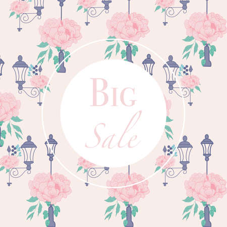 ad banner with peonies and street lamps