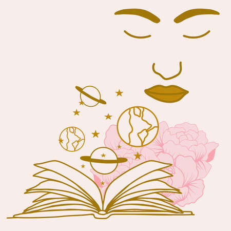 vector illustration with open book, celestial elements and woman face