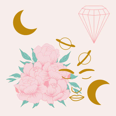 vector illustration with peonies, woman and diamonds Illustration