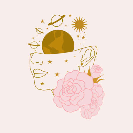 vector illustration with woman face, pink peonies and golden planets