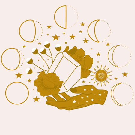 vector illustration with diamonds, hands and celestial elements