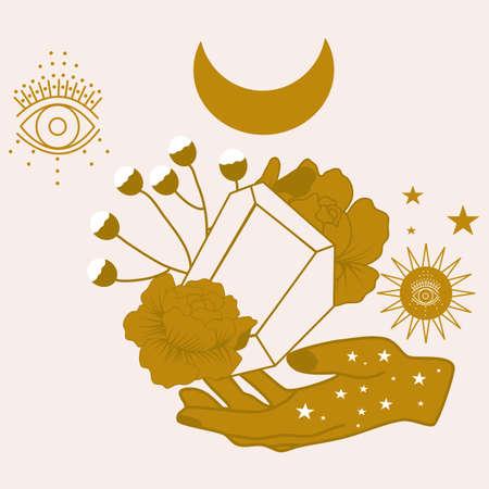 vector illustration with golden gems, flowers and celestials Vektorgrafik