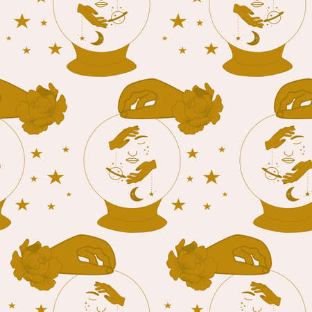 Crystal globe and celestial elements in a seamless pattern design
