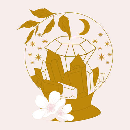 crystal globe with gems and flowers, vector illustration