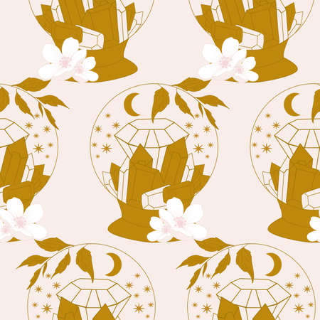 crystal globe, gems and celestials in a seamless pattern design