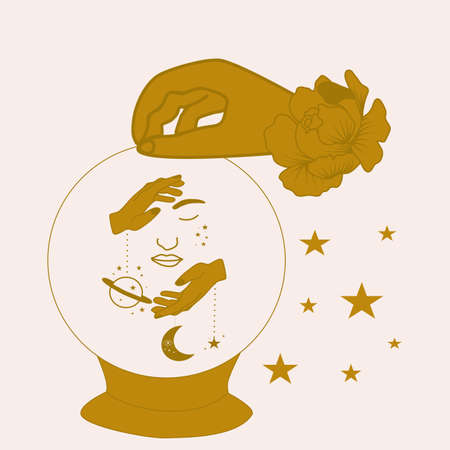goldn hand, crystal globe and white flowers, vector ullustration