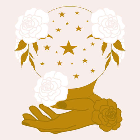 golden woman face, crystal globe and celestials, vector illustration