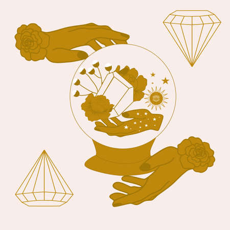 hands, crystal globe and diamonds, vector illustration