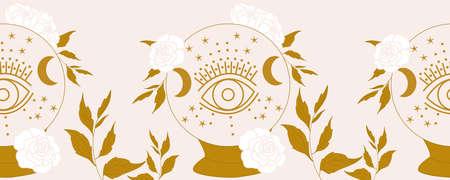 horizontal border with crystal globe, eye and white flowers 일러스트