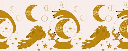 horizontal border with rystal globe, hands and moon