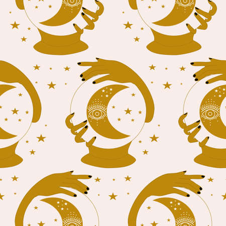 magic crystal globe and celestials in a seamless pattern design