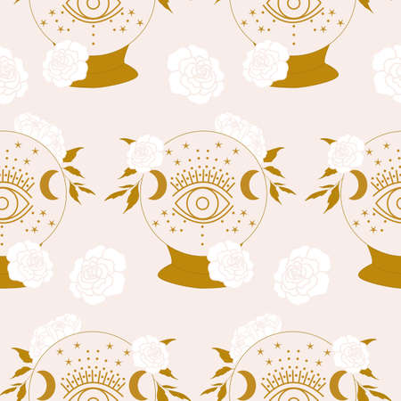 magic crystal globe and white flowers in a seamless pattern