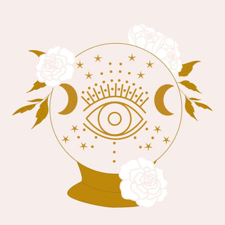 vector illustration with crystal globe, eye and white flowers