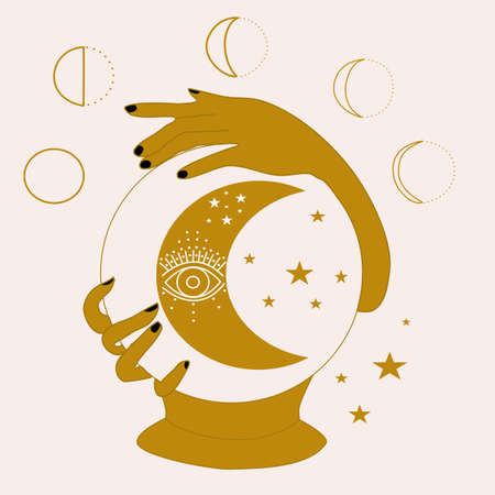vector illustration with crystal globe, hands and moon 일러스트