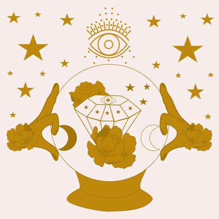 vector illustration with golden magic globe, hands and celestials
