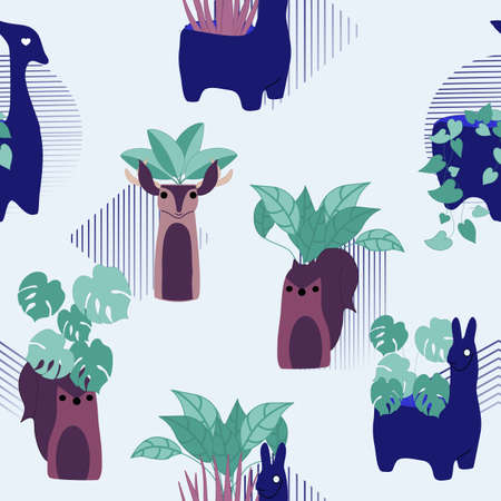 blue and orange elements and indoor plants in a seamless patterns Иллюстрация