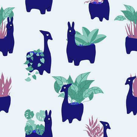 green indoor plants in blue animal pots, seamless pattern