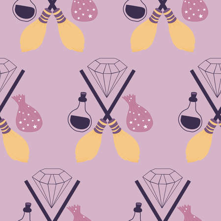 witch broom and magic elements in a seamless pattern design