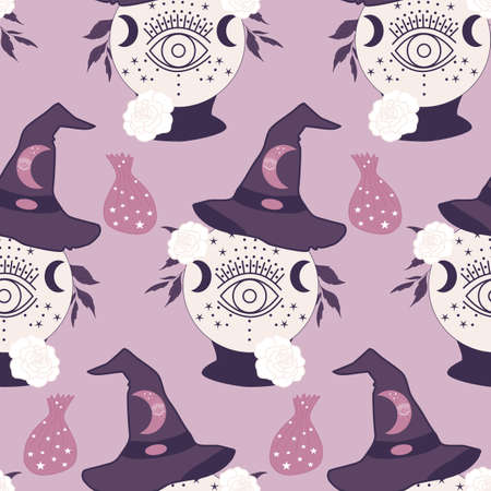 with. rystal globe and witch hat in a seamless pattern