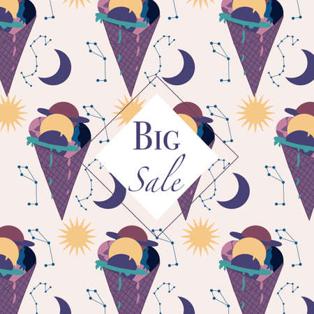 Big sale banner with colorful ice cream