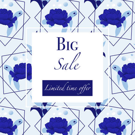 Ad banner with blue peonies and turtle