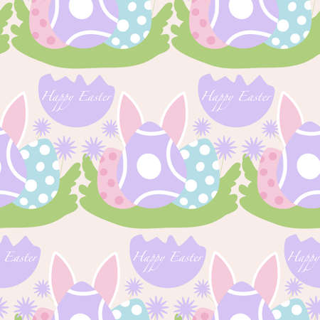 colorful easter eggs and bunny ears, seamless pattern