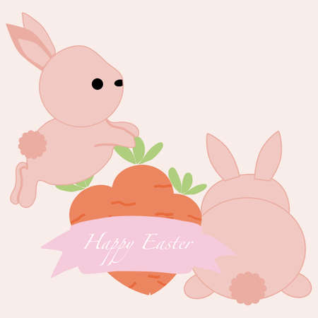cute pink bunnies and carrots, vector illustration